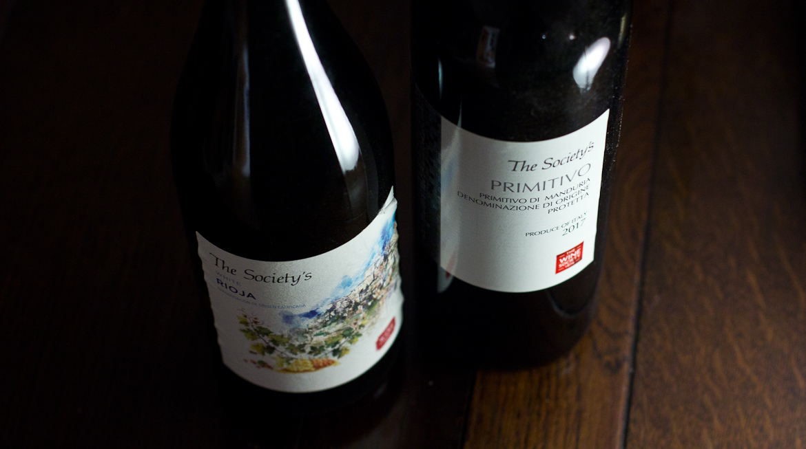 Bottles of The Wine Society's own White Rioja and Primitivo