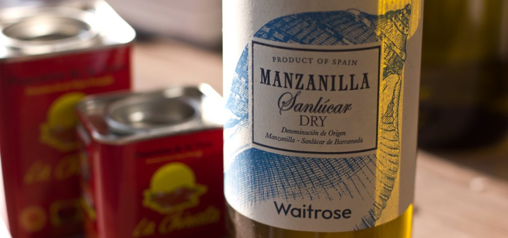 Waitrose Manzanilla Sanlucar Dry Sherry alongside some paprika