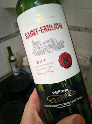 Me, holding a bottle of Waitrose St Emilion 2011