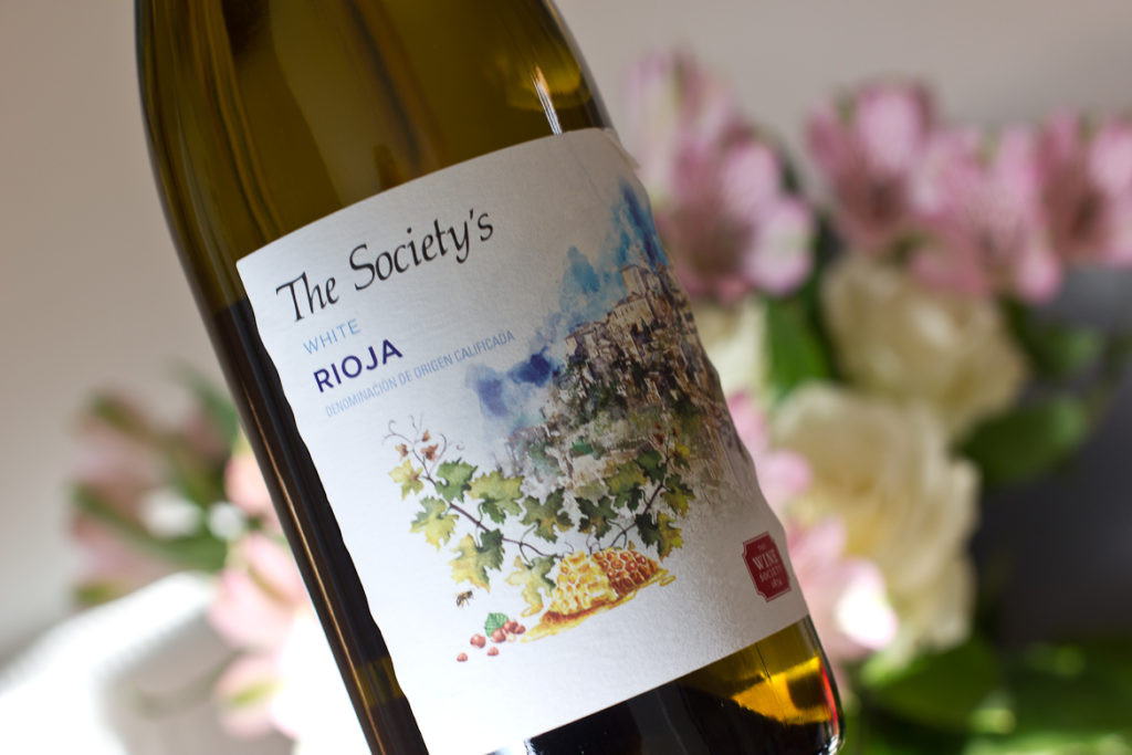 Bottle of The Wine Society's White Rioja with some delightful flowers in the background. Tasteful, non?